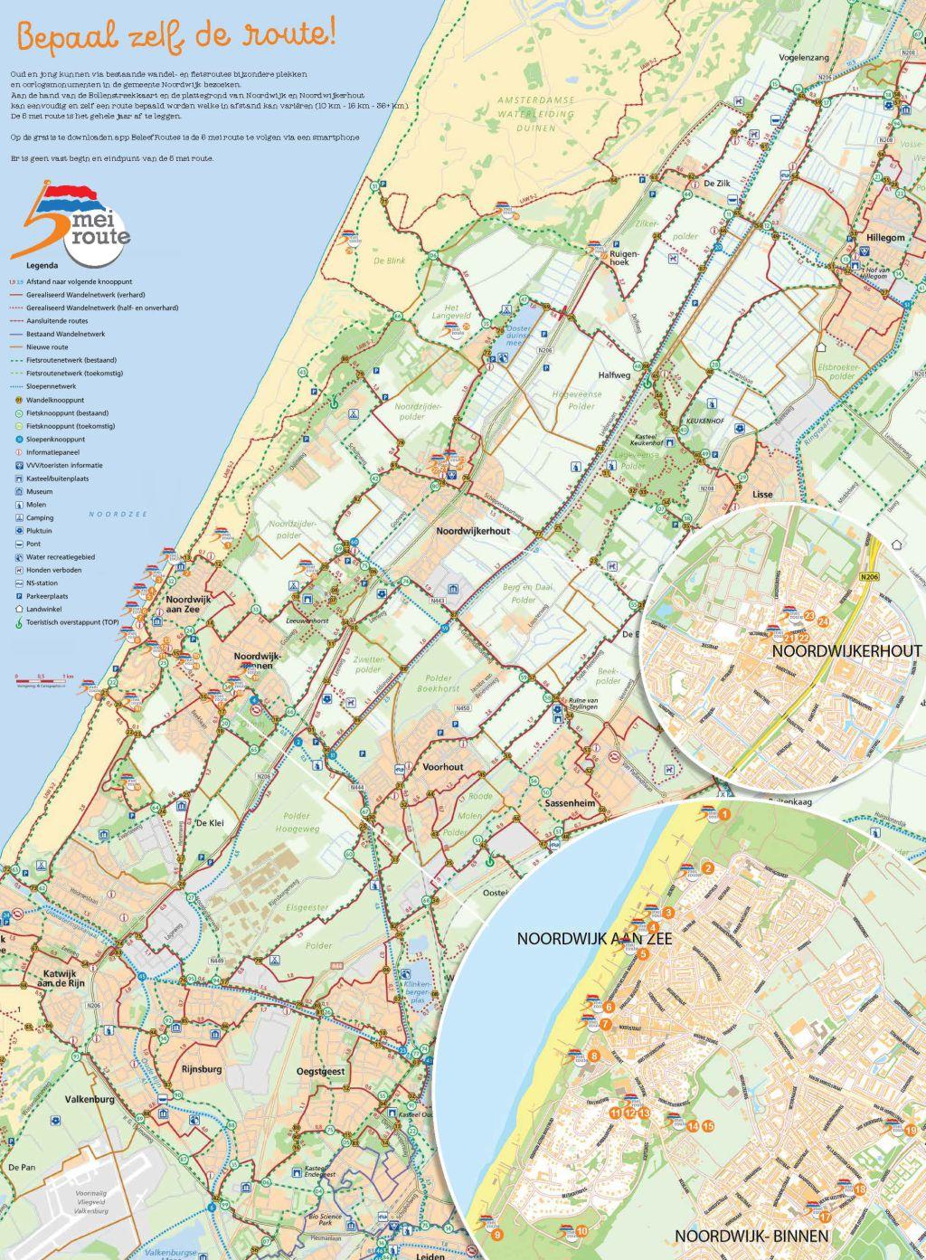 5 Mei Routekaart, Oranjeroute, Oranjeroute Noordwijk, Oranjeroute De Zilk, Oranjeroute Noordwijkerhout, Oranjeroute Bollenstreek